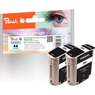 Peach Doppelpack Tintenpatrone schwarz HC kompatibel zu HP No. 940XL, C4906AE (wiederaufbereitet) - Bild 1