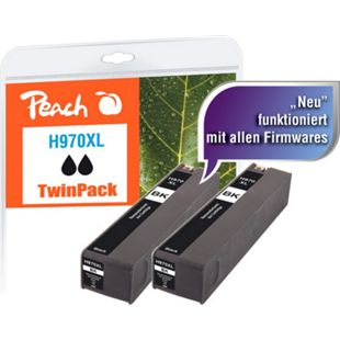 Peach Doppelpack Tintenpatrone schwarz HC kompatibel zu HP No. 970XL, CN625AE (wiederaufbereitet) - Bild 1