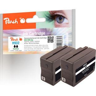 Peach Doppelpack Tintenpatrone schwarz kompatibel zu HP No. 932, CN057AE (wiederaufbereitet) - Bild 1
