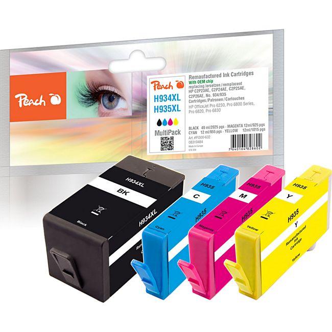 Peach Spar Pack Tintenpatronen kompatibel zu HP No. 934XL, No. 935XL (wiederaufbereitet) - Bild 1