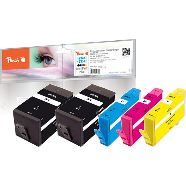 Peach Spar Pack Plus Tintenpatronen kompatibel zu HP No. 934XL, No. 935XL (wiederaufbereitet) - Bild 1