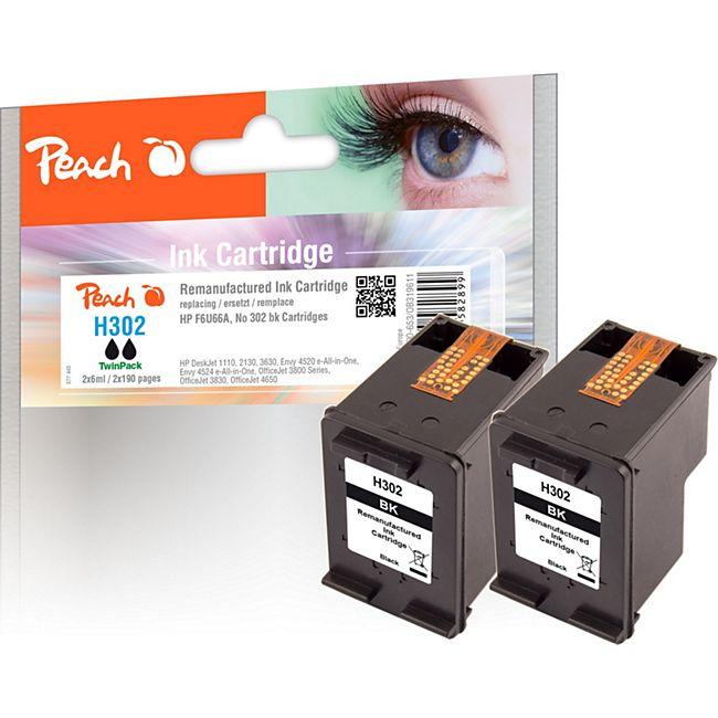Peach Doppelpack Druckköpfe schwarz kompatibel zu HP No. 302, F6U66A (wiederaufbereitet) - Bild 1