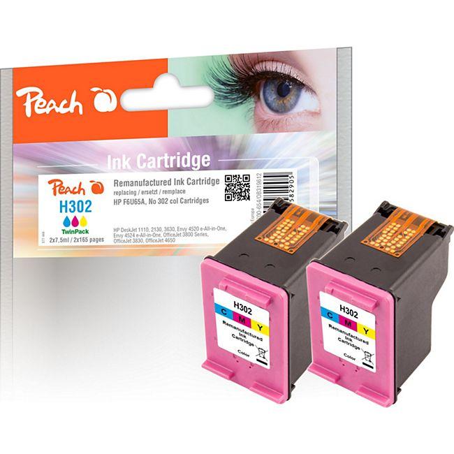 Peach Doppelpack Druckköpfe color kompatibel zu HP No. 302, F6U65A (wiederaufbereitet) - Bild 1