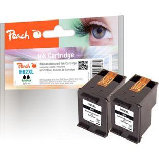 Peach Doppelpack Druckköpfe schwarz kompatibel zu HP No. 62XL, C2P05AE (wiederaufbereitet) - Bild 1