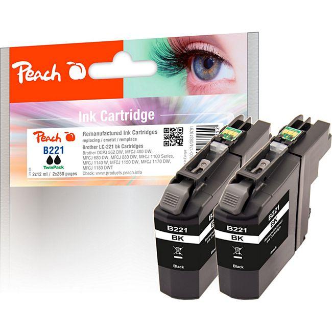 Peach Doppelpack Tintenpatronen schwarz kompatibel zu Brother LC-221BK*2 (wiederaufbereitet) - Bild 1