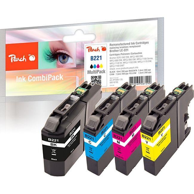 Peach Spar Pack Tintenpatronen kompatibel zu Brother LC-221 (wiederaufbereitet) - Bild 1