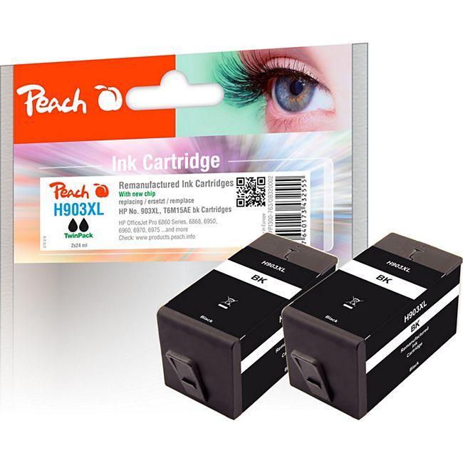 Peach Doppelpack Tintenpatrone schwarz HC kompatibel zu HP No. 903XL, T6M15AE (wiederaufbereitet) - Bild 1