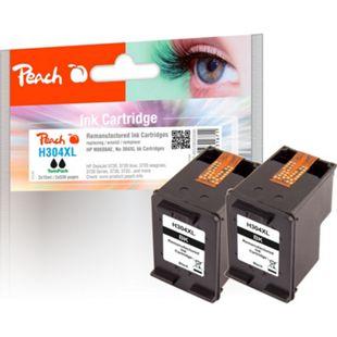 Peach Doppelpack Druckköpfe schwarz kompatibel zu HP No. 304XL BK*2, N9K08AE*2 (wiederaufbereitet) - Bild 1
