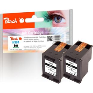 Peach Doppelpack Druckköpfe schwarz kompatibel zu HP No. 304 bk, N9K06AE*2 (wiederaufbereitet) - Bild 1