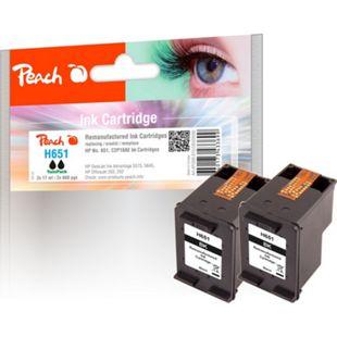 Peach Doppelpack Druckköpfe schwarz kompatibel zu HP No. 651 bk*2, C2P10AE (wiederaufbereitet) - Bild 1