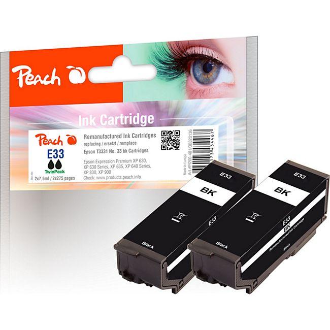 Peach Doppelpack Tintenpatronen schwarz kompatibel zu Epson No. 33 bk*2, T3331 (wiederaufbereitet) - Bild 1