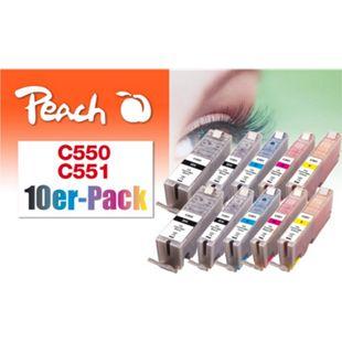 Peach 10er-Pack Tintenpatronen, kompatibel zu Canon PGI-550, CLI-551 (wiederaufbereitet) - Bild 1