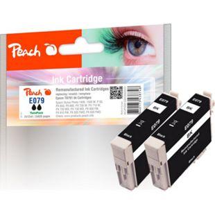 Peach Doppelpack Tintenpatronen schwarz kompatibel zu Epson T0791*2 (wiederaufbereitet) - Bild 1