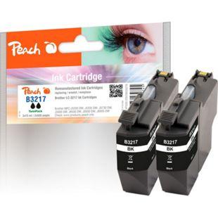 Peach Doppelpack Tintenpatrone schwarz kompatibel zu Brother LC-3217BK*2 (wiederaufbereitet) - Bild 1