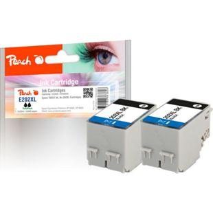Peach Doppelpack Tintenpatronen schwarz kompatibel zu Epson No. 202XL, T02G1*2 - Bild 1