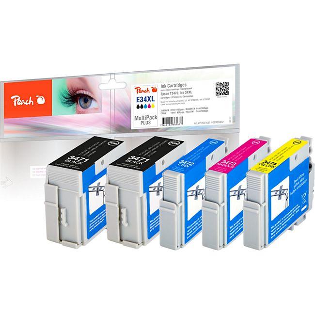Peach Spar Pack Plus Tintenpatronen XL kompatibel zu Epson No. 34XL - Bild 1
