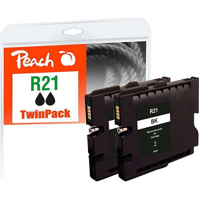 Peach Doppelpack Tintenpatrone schwarz kompatibel zu Ricoh GC21K, 405532 (wiederaufbereitet) - Bild 1