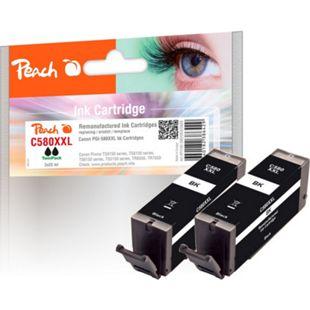 Peach Doppelpack Tintenpatronen XXL schwarz kompatibel zu Canon PGI-580XXL bk (wiederaufbereitet) - Bild 1