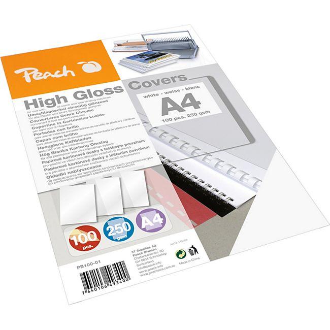 Peach Einbanddeckel hochglänzend, 250 g/m2,  A4, weiss, 100 Blatt - Bild 1