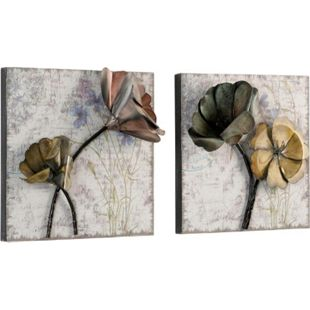 möbel direkt online Wandbilder Blumen 2er-Set aus Metall - Bild 1