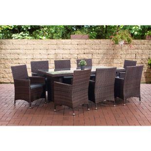 CLP Polyrattan-Sitzgruppe AVIGNON BIG | Garten-Set mit 8 Sitzplätzen | Komplett-Set bestehend aus: 1x Tisch und 8 Gartenstühlen und Sitzkissen... braun-meliert, Eisengrau - Bild 1