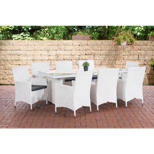 CLP Polyrattan-Sitzgruppe AVIGNON BIG | Garten-Set mit 8 Sitzplätzen | Komplett-Set bestehend aus: 1x Tisch und 8 Gartenstühlen und Sitzkissen... weiß, Eisengrau - Bild 1