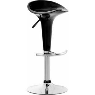 CLP Barhocker SADDLE mit drehbarem Kunsttoffsitz und Fußablage I Höhenverstellbarer Hocker mit Metallgestell in Chrom-Optik... schwarz - Bild 1