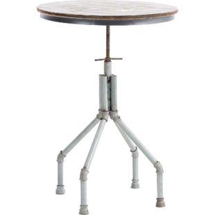 Stehtisch PIPE, rund Ø 70 cm, Industrial Design, Höhe verstellbar 83 - 102 cm, Materialmix Holz & Metall, Bartisch... silber - Bild 1