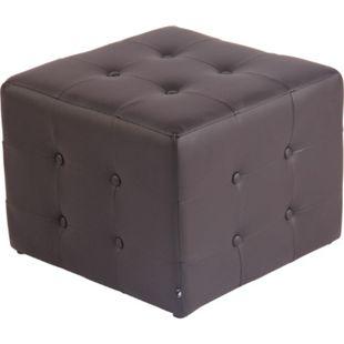 CLP Sitzhocker Cubic Mit Hochwertiger Polsterung Und Kunstlederbezug I Gepolsterter Sitzwürfel I Eckiger Polsterhocker... braun - Bild 1