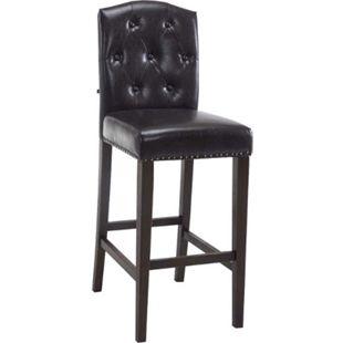 CLP Barhocker LOUISE, Kunstleder-Bezug, Holz-Gestell, Sitzhöhe 73 cm, Rückenlehne + Fußstütze, Kupfer Zierknöpfe an der Naht, mit Bodenschonern... braun, Antik - Bild 1