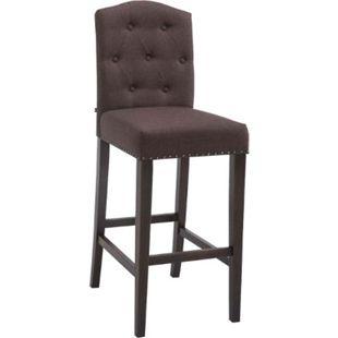 CLP Barhocker LOUISE, Stoff-Bezug, Holz-Gestell, Sitzhöhe 73 cm, Rückenlehne + Fußstütze, Kupfer Zierknöpfe an der Naht, mit Bodenschonern... braun, Antik - Bild 1