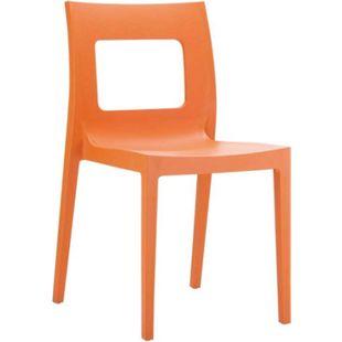 CLP Kunststoff-Gartenstuhl LUCCA XXL   Pflegeleichter Stapelstuhl für den Innen-und Außenbereich   In verschiedenen Farben erhältlich... orange - Bild 1