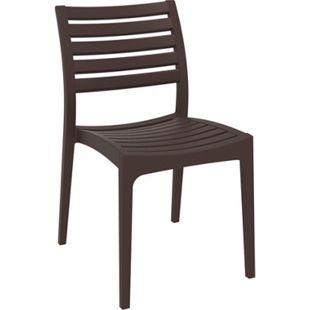 Gartenstuhl ARES aus Kunststoff l Küchenstuhl belastbar bis 160 kg l Wasserabweisender, UV-beständiger Stapelstuhl... braun - Bild 1