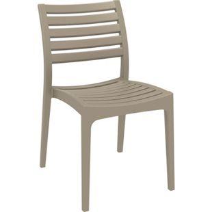 CLP Gartenstuhl ARES aus Kunststoff l Küchenstuhl belastbar bis 160 kg l Wasserabweisender, UV-beständiger Stapelstuhl... schlamm - Bild 1