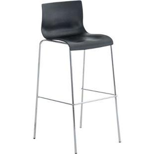 CLP Barhocker HOOVER mit Kunststoffsitz und robustem Metallgestell I Barstuhl mit einer Sitzhöhe von: 76 cm I In verschiedenen Farben erhältlich... schwarz, Chrom - Bild 1