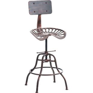 CLP Barhocker ESSEN im Industrial Look | Höhenverstellbarer Metallhocker mit Fußstütze | Robuster Tresenhocker mit Rückenlehne - Bild 1