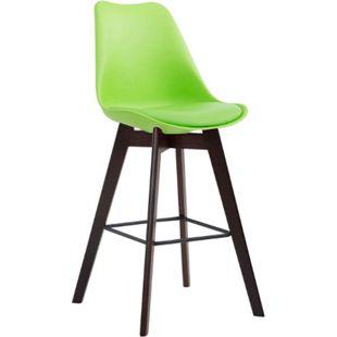 CLP Barhocker METZ Kunststoff I Sitzfläche mit Kunstlederbezug I Thekenhocker mit einem Gestell aus Eichenholz I Tresenhocker mit Fußstütze... grün, Cappuccino - Bild 1