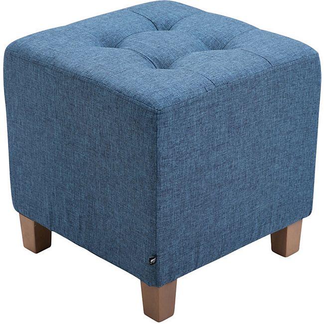 CLP Sitzhocker PHARAO mit Stoffbezug I Sitzwürfel mit hochwertiger Polsterung und Bodenschonern... blau - Bild 1