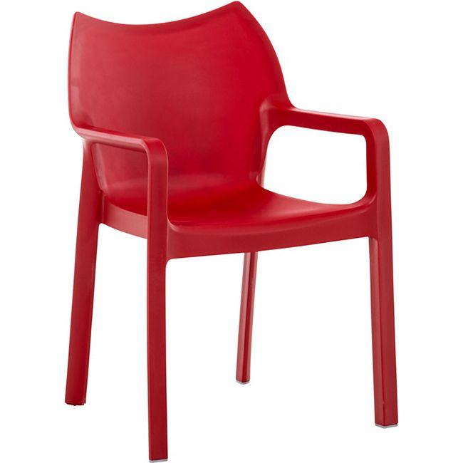 CLP Kunststoff-Gartenstuhl DIVA mit Armlehnen I XXL- Kunststoffstuhl mit einer Belastbarkeit von 160 kg... rot - Bild 1