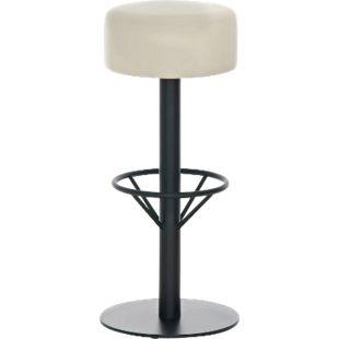 CLP Edelstahl-Barhocker PISA | Barstuhl mit Sitzhöhe 76 cm | Thekenhocker mit hochwertiger Polsterung und Kunstlederbezug... creme, Schwarz - Bild 1