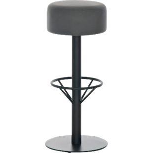 CLP Edelstahl-Barhocker PISA | Barstuhl mit Sitzhöhe 76 cm | Thekenhocker mit hochwertiger Polsterung und Kunstlederbezug... grau, Schwarz - Bild 1