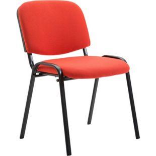 CLP Besucherstuhl Ken mit hochwertiger Polsterung und Stoffbezug I Stapelstuhl mit robustem Metallgestell und gepolsterter Rückenlehne... rot - Bild 1