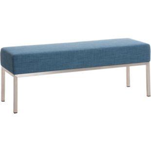 3er-Sitzbank Lamega Stoff I Sitzbank Mit Polsterung Und Edelstahlgestell... blau - Bild 1