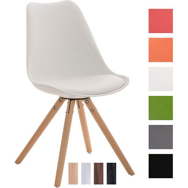 CLP Retrostuhl PEGLEG mit hochwertiger Polsterung und Kunstlederbezug I Schalenstuhl mit Holzgestell und einer Sitzhöhe von: 46 cm
