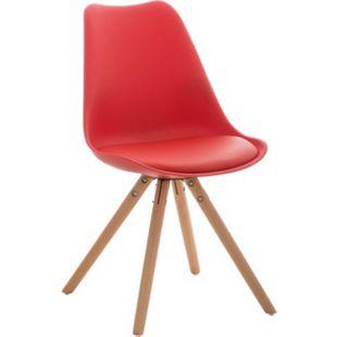 CLP Retrostuhl PEGLEG mit hochwertiger Polsterung und Kunstlederbezug I Schalenstuhl mit Holzgestell und einer Sitzhöhe von: 46 cm... rot, Natura - Bild 1