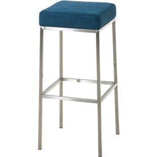 CLP Barhocker MONTREAL mit Stoffbezug I Tresenhocker mit einer Sitzhöhe von 85 cm I In verschiedenen Farben erhältlich... blau, Edelstahl - Bild 1