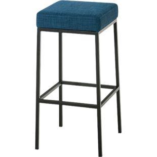 CLP Barhocker MONTREAL mit Stoffbezug | Thekenhocker mit einer Sitzhöhe von 80 cm | Gepolsterte Sitzfläche und Fußstütze... blau, Schwarz - Bild 1