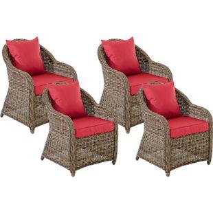 CLP 4er Set Sessel STAVANGER I FARSUND inklusive Sitzkissen I Robuster Gartenstuhl mit einem Untergestell aus Aluminium I 5mm starkes Polyrattan - Bild 1