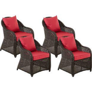 CLP 4er Set Sessel STAVANGER I FARSUND inklusive Sitzkissen I Robuster Gartenstuhl mit einem Untergestell aus Aluminium I 5mm starkes Polyrattan... schwarz, Rubinrot - Bild 1