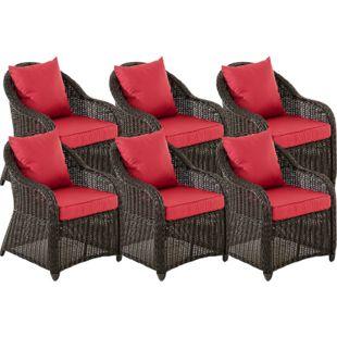 CLP 6er Set Sessel STAVANGER inklusive Sitzkissen I Robuster Gartenstuhl mit einem Untergestell aus Aluminium I 5mm starkes Polyrattan... schwarz, Rubinrot - Bild 1